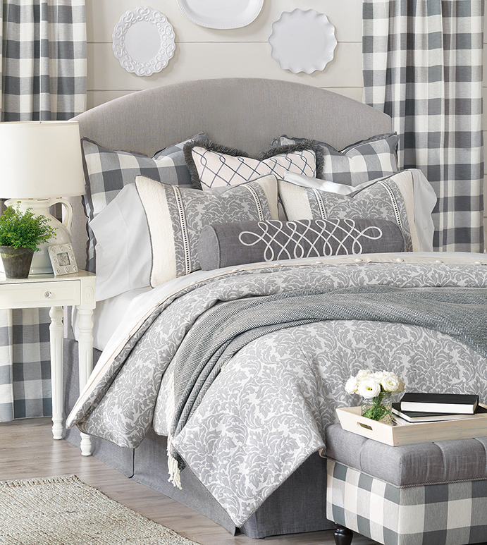 Hampshire - blue farmhouse bedding,country bedding,gray country bedding,cottage style,neutral damask,farmhouse style bedding,gray and blue,gray and white,classic country bedding,damask