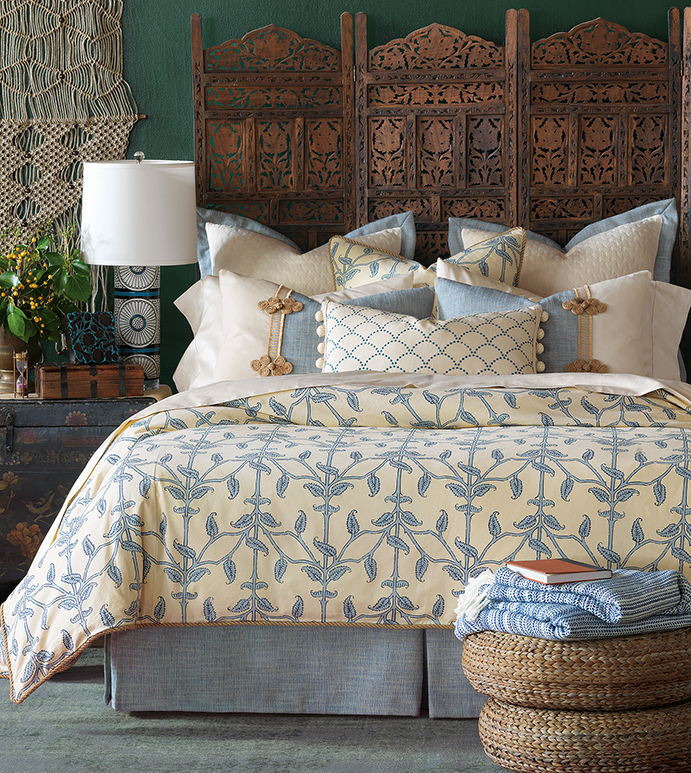 Badu - tropical, island, boho, bohemian, caribbean, coastal, blue, spa, floral, vine, pattern, bedset, bed, bedding, bedding collection, bedding ensemble, duvet cover, duvet, comforter, blanket, bed skirt, sham, pillow, natural, texture, luxury, expensive, high end, high quality, luxurious, bolster, decorative pillow, accent pillow, throw pillow, lumbar pillow, flange, matelasse, quilted, cream, white, made in usa, made in america, trim application, rope, embroidery, embroidered, ball trim, pleated, monogram, boxed, 100% cotton, linen, frog tie, decoration, accessorized