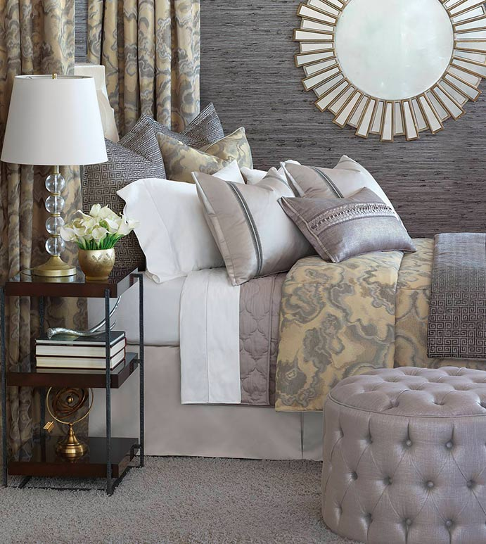 Amal - luxury bedding, designer bedding, glitz, glam, glamorous, silver, gold, metallic, footstool, storage ottoman, throw pillows, decorative pillows, accent pillows, duvet cover, comforter, marbled, button-tufted, hand-tacked, laser-cut, bed skirt, shams, curtain panels, draperies, curtains, geometric, monogram