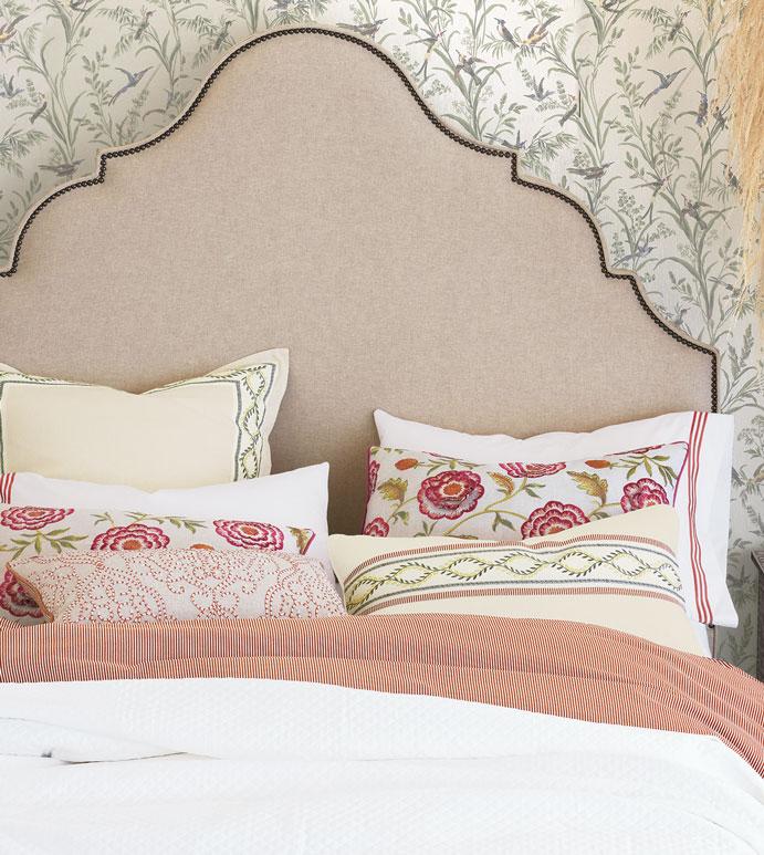 Marguerite Bedset - ,luxury bedset,alexa hampton bedset,designer bedding,ticking stripe,floral embroidery,floral duvet,floral bedding,pink bedding,