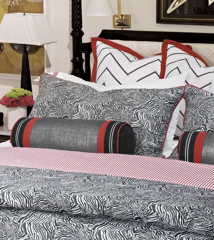 Percival Bedset - ,luxury bedset,metallic bedding,black and red bedding,metallic pillow,metallic bolster,ticking stripe,red striped fabric,alexa hampton bedding,graphic bedding,monochrome bedding,
