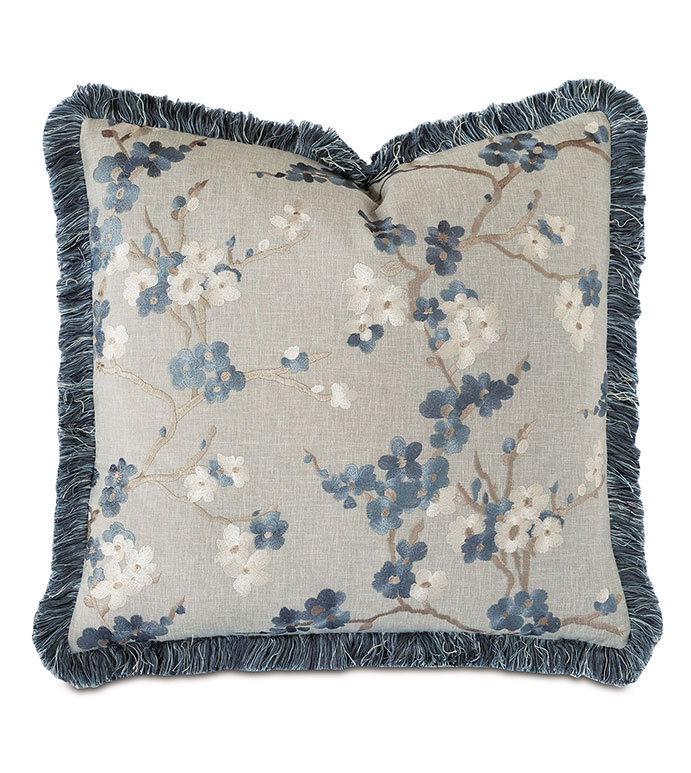 Baynes Embroidered Decorative Pillow - ALEXA HAMPTON,BLUE,DECORATIVE PILLOW,THROW PILLOW,ACCENT PILLOW,JAPANESE,CHERRY BLOSSOM,ASIAN,CHINESE,BRUSH FRINGE,EMBROIDERED,TEXTURED,EMBROIDERY,FLORAL,BOTANICAL,BLUE FLORAL,