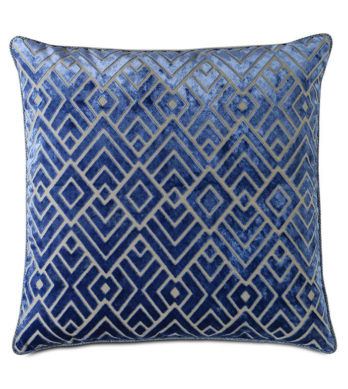 Watson Diamond Decorative Pillow in Cobalt - ALEXA HAMPTON,VELVET,CUT VELVET,DIAMOND,ART DECO,GEOMETRIC,BLUE,SAPPHIRE,COBALT,DESIGNER,LUXURY,DECORATIVE PILLOW,THROW PILLOW,ACCENT PILLOW,BLUE ART DECO THROW PILLOW,BLUE VELVET,