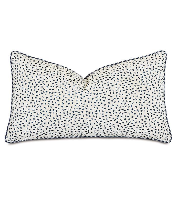 Claire Speckled  Decorative Pillow - ,15x26 pillow,long pillow,bolster pillow,striped pillow,blue pillow,navy pillow,speckled print,100% cotton pillow,ticking stripe,nautical pillow,alexa hampton,nautical decor,