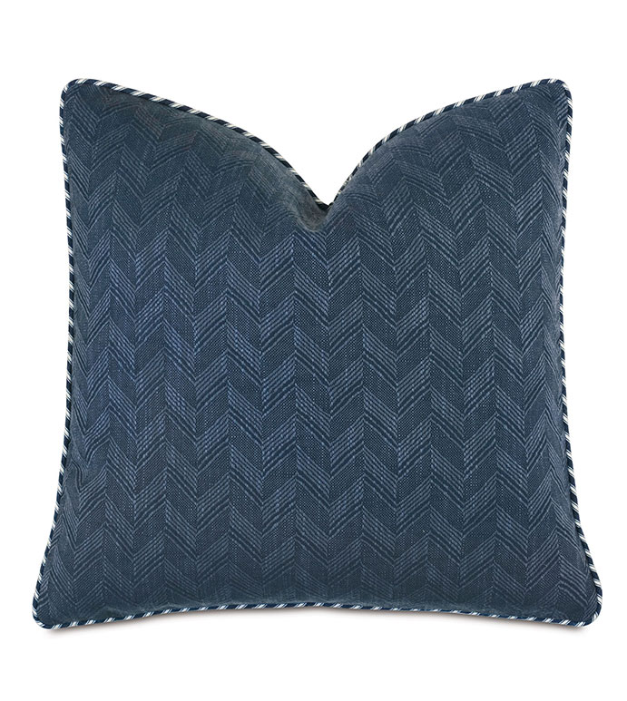 Claire Chevron Decorative Pillow - ,20x20 pillow,chevron pillow,blue pillow,navy pillow,chevron fabric,striped fabric,100% cotton pillow,ticking stripe,alexa hampton,square pillow,nautical pillow,coastal decor,