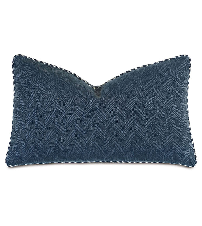 Claire Chevron Decorative Pillow - ,13x22 pillow,rectangle pillow,chevron pillow,blue pillow,navy pillow,alexa hampton,nautical pillow,coastal decor,designer pillow,navy bedding,blue bedding,navy bolster,