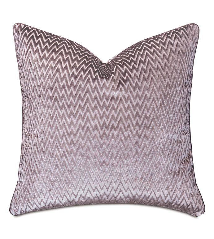 Evie Velvet Chevron Decorative Pillow - ,22X22 PILLOW,VELVET PILLOW,CHEVRON PILLOW,MAUVE PILLOW,PURPLE PILLOW,VELVET CHEVRON,LUXURY PILLOW,PURPLE VELVET,MAUVE VELVET,ALEXA HAMPTON,DESIGNER PILLOW,