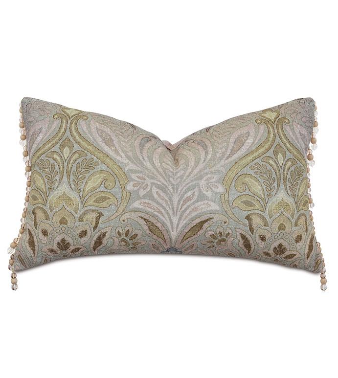 Evie Beaded Trim Decorative Pillow - ,RECTANGLE PILLOW,LARGE PILLOW,DECORATIVE PILLOW,DAMASK PATTERN,DAMASK PILLOW,MAUVE THROW PILLOW,BEADED TRIM,DECORATIVE TRIM,ALEXA HAMPTON PILLOW,LUXURY THROW PILLOW,