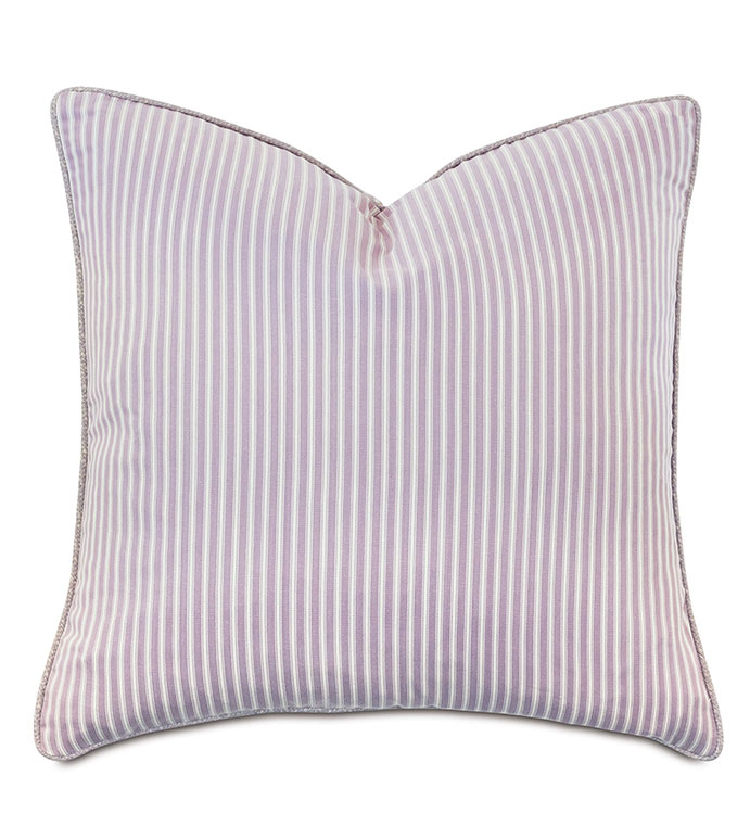 Evie Striped Decorative Pillow - ,100% COTTON, COTTON PILLOW,22X22 PILLOW,STRIPED PILLOW,TICKING STRIPE,PURPLE TICKING STRIPE,COTTON BEDDING,PURPLE PILLOW,ALEXA HAMPTON,GIRLS BEDROOM,STRIPED BEDDING,