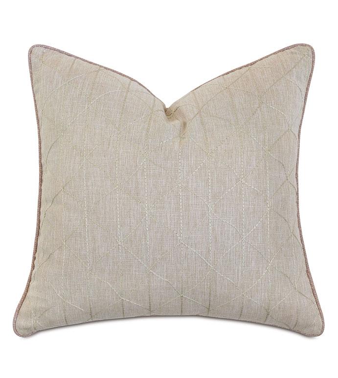 Evie Embroidered Decorative Pillow - ,22X22 PILLOW,SQUARE PILLOW,LARGE PILLOW,EMBROIDERY,EMBROIDERED PILLOW,GEOMETRIC EMBROIDERY,METALLIC EMBROIDERY,NEUTRAL PILLOW,NEUTRAL THROW PILLOW,