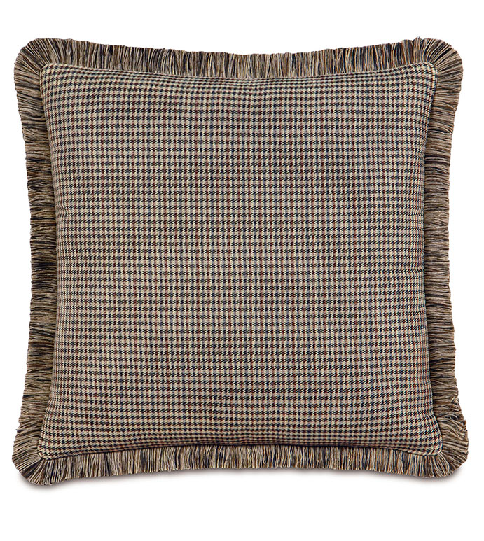Aiden Houndstooth Euro Sham - FLANNEL PILLOW,PLAID PILLOW,TAN,BROWN,SLATE,GREY,GRAY,BROWN PILLOW WITH FRINGE,RUSTIC PILLOW,LODGE PILLOW,MOUNTAIN,COUNTRY,CLASSIC,TRADITIONAL,OVERSIZED PILLOW,BROWN PLAID PILLOW