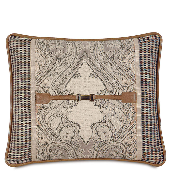 Aiden Buckle Decorative Pillow - PILLOW WITH BUCKLE,LODGE PILLOW,COUNTRY PILLOW,MOUNTAIN,RUSTIC PILLOW,TAN PAISLEY,CHECKERED,TAN,IVORY,CREAM,SQUARE PILLOW,LODGE,MOUNTAIN HOME,FAUX LEATHER,SADDLE,BUCKLE,WELT