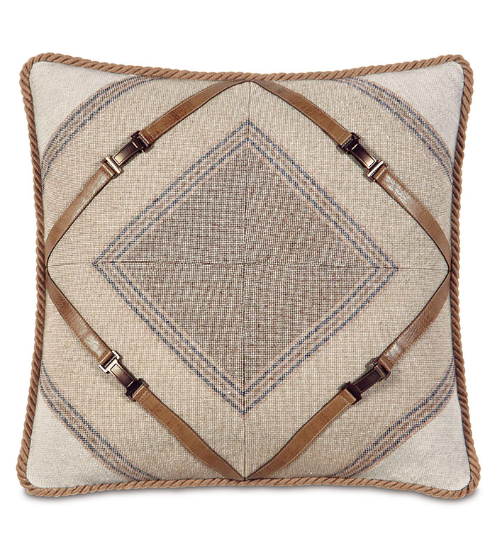 Aiden Mitered Decorative Pillow - COUNTRY PILLOW,MOUNTAIN HOME PILLOW,LODGE PILLOW,SOUTHWEST,RUSTIC,FAUX LEATHER,SADDLE LEATHER,LEATHER BUCKLE,MITERED PILLOW,TAN,CREAM,SADDLE,CARAMEL,ANTIQUE BRASS,BUCKLE,STRIPED