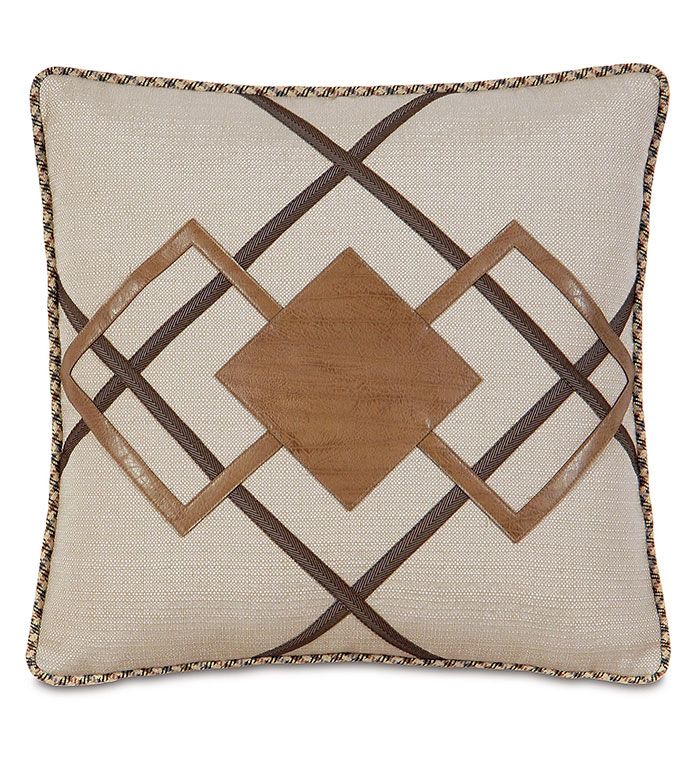 Aiden Diamond Decorative Pillow - RUSTIC PILLOW,LODGE PILLOW,COUNTRY PILLOW,SADLLE LEATHER,FAUX LEATHER,TRADITIONAL,TAN,CREAM,BROWN,CARAMEL,MOUNTAIN HOME PILLOW,LASER CUT,SQUARE PILLOW,GEOMETRIC,SOUTHWEST,VINYL