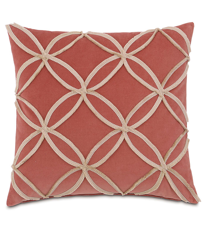 Lenneka Rose With Mini Brush Fringe - PILLOW,TOSS CUSHION,THROW PILLOW,SQUARE PILLOW,TRADITIONAL PILLOW,CUSTOM PILLOW,DOUBLE SIDED PILLOW,ROSE PILLOW,ACCENT PILLOW,MINI BRUSH FRINGE,HIGH END PILLOW,BED PILLOW