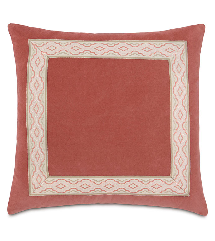 Lenneka Rose With Mitered Border - PILLOW,DECORATIVE PILLOW,CORAL PILLOW,SQUARE PILLOW,TOSS CUSHION,THROW PILLOW,ACCENT PILLOW,DOUBLE SIDED PILLOW,CUSTOMIZED PILLOW,BED PILLOW,HIGH END PILLOW,LUXURY PILLOW,CUSHION