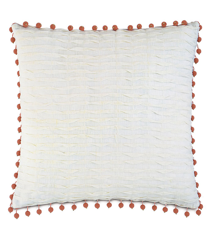 Yearling Pearl With Beaded Trim - PILLOW,WHIMSICAL PILLOW,SQUARE PILLOW,TOSS CUSHION,THROW PILLOW,ACCENT PILLOW,DECORATIVE PILLOW,ACCCENT CUSHION,BEADED PILLOW,FEMINE PILLOW,WHITE PILLOW,CUSTOM PILLOW,CUSHION