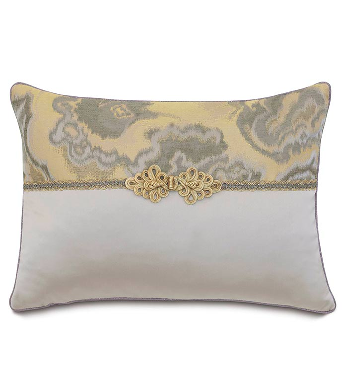 Amal/Daza Mink With Frog Tie - SILVER,TAUPE,GREY,WELT,PILLOW,PATTERN,DESIGN,GLAM,MODERN,TRIM,ACCENT,METALLIC,BEDROOM,BED,LUXURY BEDDING,INTERIOR DESIGN,JEWEL,DESIGNER,ABSTRACT,WOVEN,TRIM,ENVELOPE,CONTRAST,