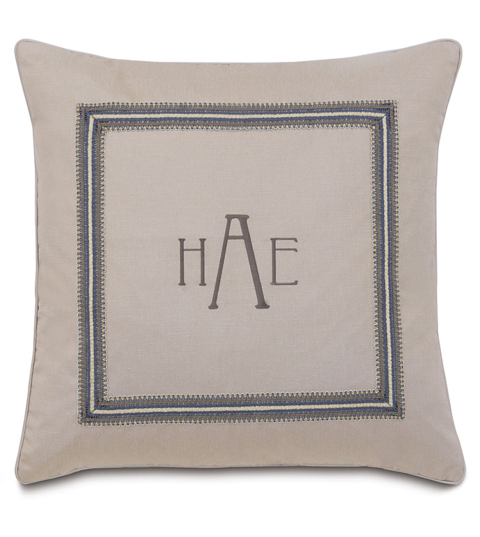 Mack Heather With 3-Letter Monogram - SILVER,TAUPE,GREY,WELT,PILLOW,DESIGN,GLAM,MODERN,TRIM,ACCENT,METALLIC,BEDROOM,BED,LUXURY BEDDING,INTERIOR DESIGN,DESIGNER,TRIM,BORDER,SQUARE,MONOGRAM,LETTERS,INITIALS,PERSONALIZE