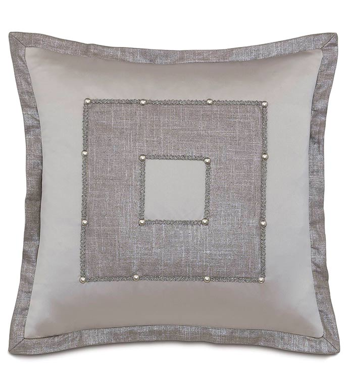 Reflection Taupe Square Insert - SILVER,TAUPE,GREY,PILLOW,PATTERN,DESIGN,GLAM,MODERN,TRIM,ACCENT,METALLIC,BEDROOM,BED,LUXURY BEDDING,INTERIOR DESIGN,TRIM,BORDER,MITER,SQUARE,INSET,NAILHEAD,FLANGE,NICKEL,CONTRAST