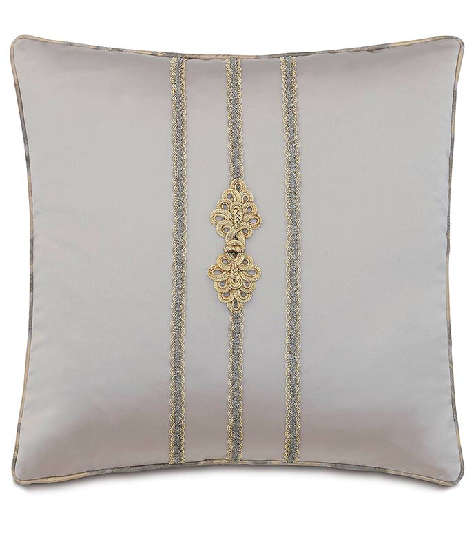 Daza Mink With Frog Tie - SILVER,TAUPE,GREY,WELT,PILLOW,PATTERN,DESIGN,GLAM,MODERN,TRIM,ACCENT,METALLIC,BEDROOM,BED,LUXURY BEDDING,INTERIOR DESIGN,CLASSIC,BUTTONS,SQUARE,STRIPE,ROW,SOLID,VERTICAL,BUTTON