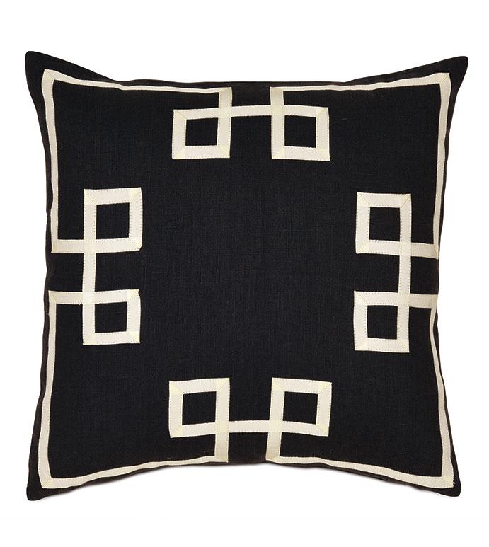 Resort Black Fret Accent Pillow - ,