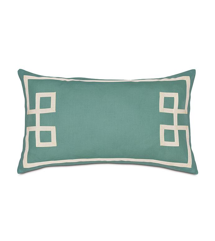 Resort Aqua Fret Accent Pillow - ,