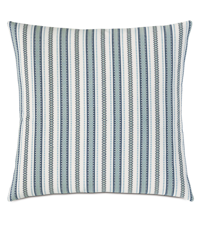 Hugo Stripe Decorative Pillow - BLUE,GREEN,STRIPED,STRIPES,STRIPE,KNIFE EDGE,BOYS,KIDS,CHILDRENS,MODERN,CHIC,22X22,SQUARE,DECORATIVE PILLOW,THROW PILLOW,ACCENT PILLOW