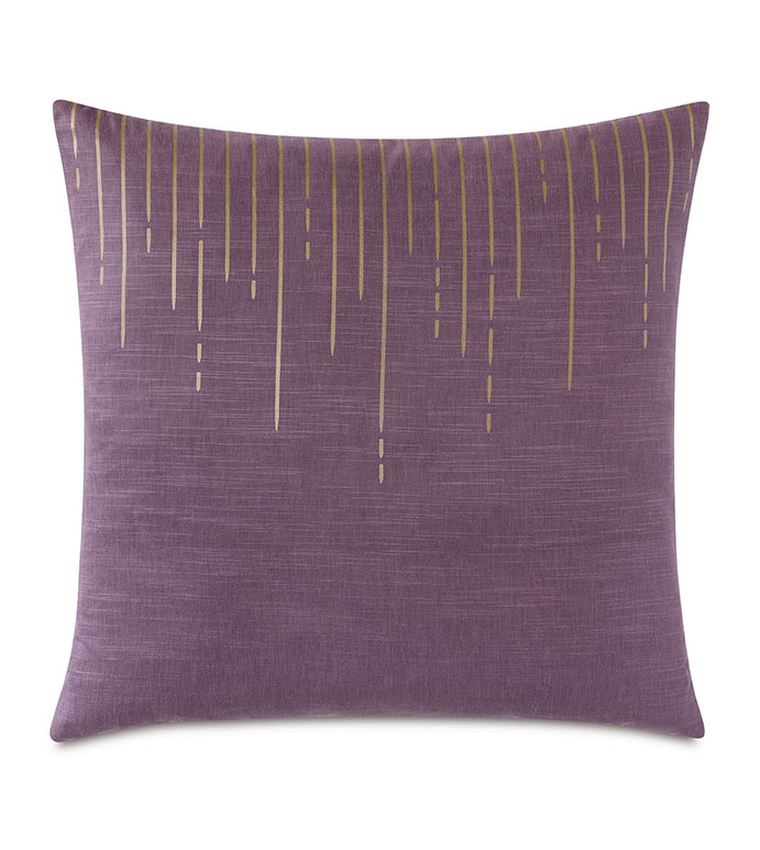 Tabitha Metallic Drip Decorative Pillow in Plum - ,PURPLE PILLOW, DECORATIVE PILLOW, GLAM PILLOW, SCREEN PRINT DESIGN, PRINT PILLOW, PURPLE BEDDING, GOLD PRINT, LARGE DECORATIVE PILLOW, METALLIC, METALLIC PILLOW