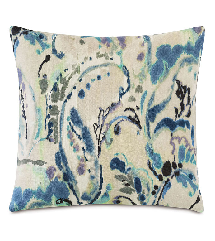 Tabitha Watercolor Paisley Decorative Pillow - ,PAISLEY,DECORATIVE PILLOW,PAISLEY PILLOW,BLUE PILLOW,BEIGE PILLOW, PAISLEY BEDDING, ABSTRACT PRINT, ABSTRACT PILLOW, BLUE,PURPLE PILLOW,LUXURY PILLOW,LUXURY BEDDING