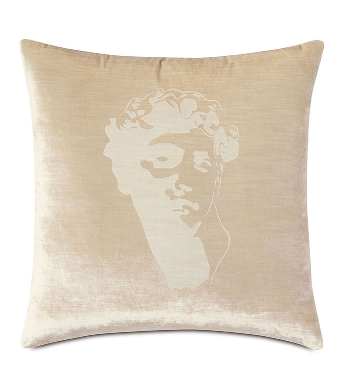 Antiquity David Decorative Pillow - ,DECORATIVE PILLOW,VELVET PILLOW,VELVET,LUXURY VELVET,ANCIENT GREECE,ANTIQUITY,LUXURY DECOR,CREAM PILLOW,OFF WHITE VELVET,PILLOW,LASER ENGRAVED,GREEK DESIGN,SQUARE PILLOW,