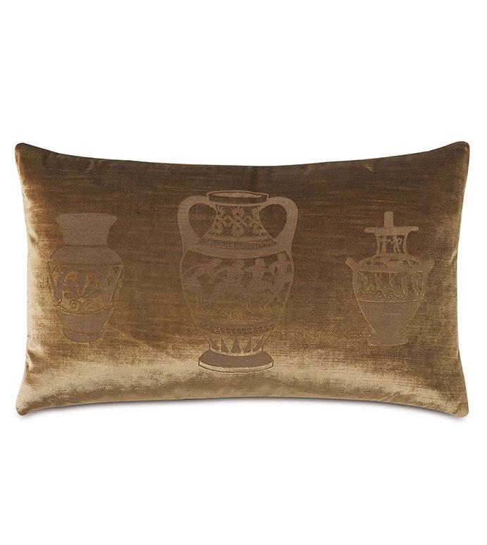 Antiquity Krater Decorative Pillow - ,DECORATIVE PILLOW,VELVET PILLOW,VELVET,LUXURY VELVET,ANCIENT GREECE,ANTIQUITY,CLASSIC DECOR,LUXURY DECOR,COPPER PILLOW,COPPER VELVET,PILLOW,LASER ENGRAVED,