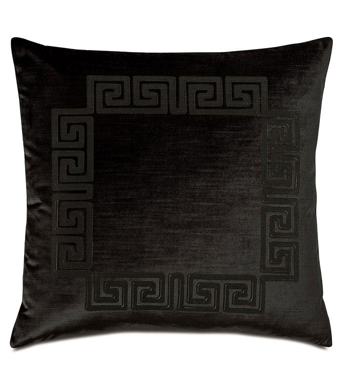 Antiquity Greek Key Decorative Pillow in Ebony - ,DECORATIVE PILLOW,VELVET PILLOW,VELVET,LUXURY VELVET,ANCIENT GREECE,ANTIQUITY,CLASSIC DECOR,LUXURY DECOR,BLACK PILLOW,BLACK VELVET, PILLOW,LASER ENGRAVED,