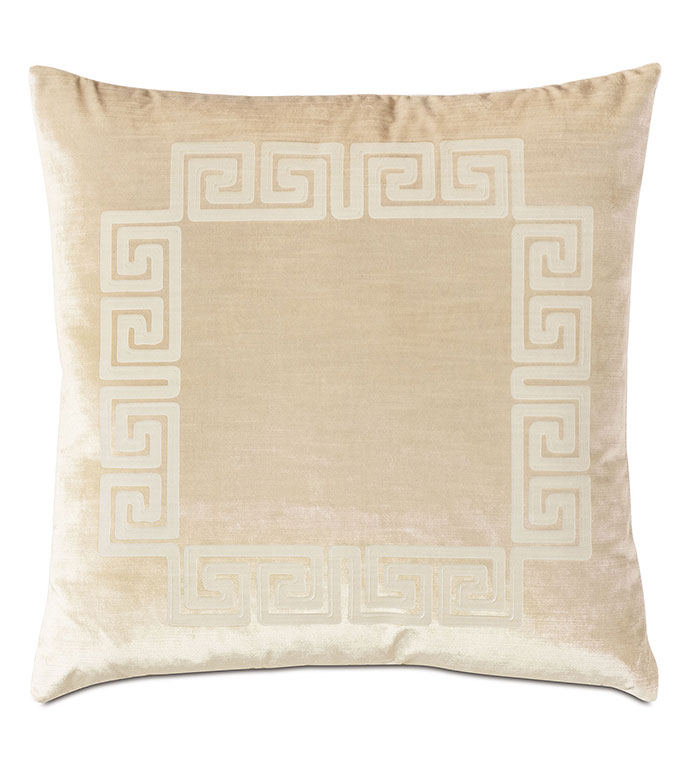 Antiquity Greek Key Decorative Pillow in Cream - ,DECORATIVE PILLOW,VELVET PILLOW,VELVET,LUXURY VELVET,ANCIENT GREECE,ANTIQUITY,CLASSIC DECOR,LUXURY DECOR,WHITE VELVET,PILLOW,LASER ENGRAVED,GREEK KEY