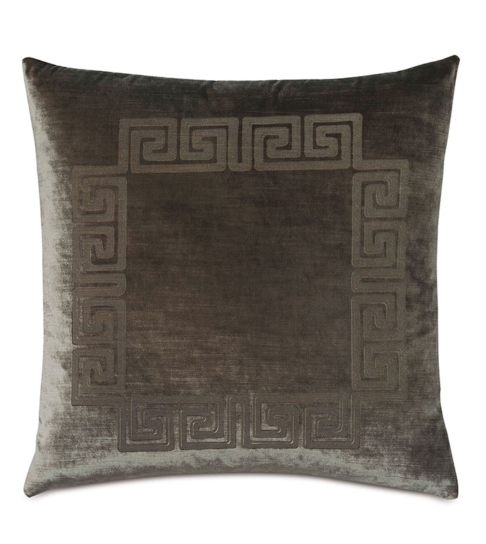 Antiquity Greek Key Decorative Pillow in Oregano - ,DECORATIVE PILLOW,VELVET PILLOW,VELVET,LUXURY VELVET,ANCIENT GREECE,ANTIQUITY,GREEK KEY,LUXURY DECOR,GREEN PILLOW,GREEN VELVET, PILLOW,LASER ENGRAVED,