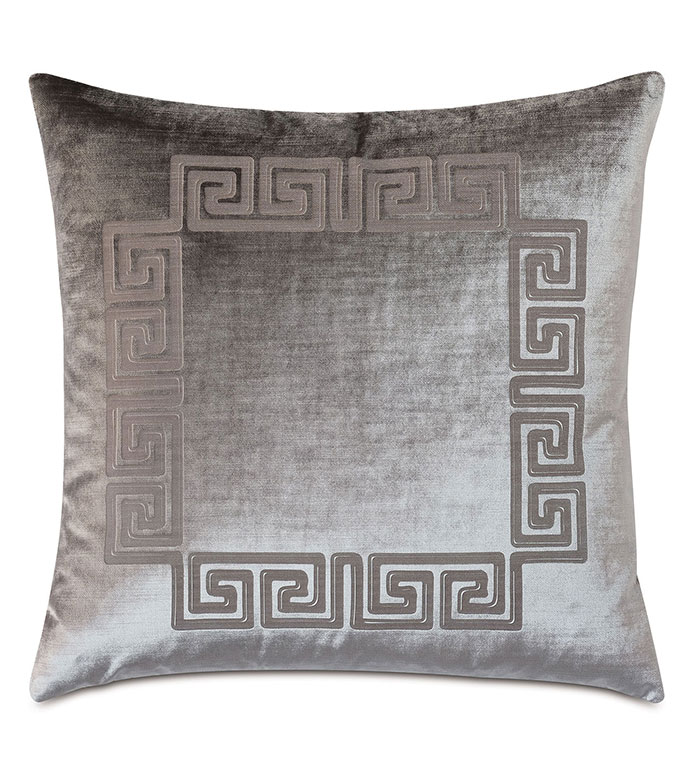 Antiquity Greek Key Decorative Pillow in Dove - ,DECORATIVE PILLOW,VELVET PILLOW,VELVET,LUXURY VELVET,ANCIENT GREECE,ANTIQUITY,GREEK KEY,LUXURY DECOR,GREY PILLOW,GREY VELVET,PILLOW,LASER ENGRAVED,