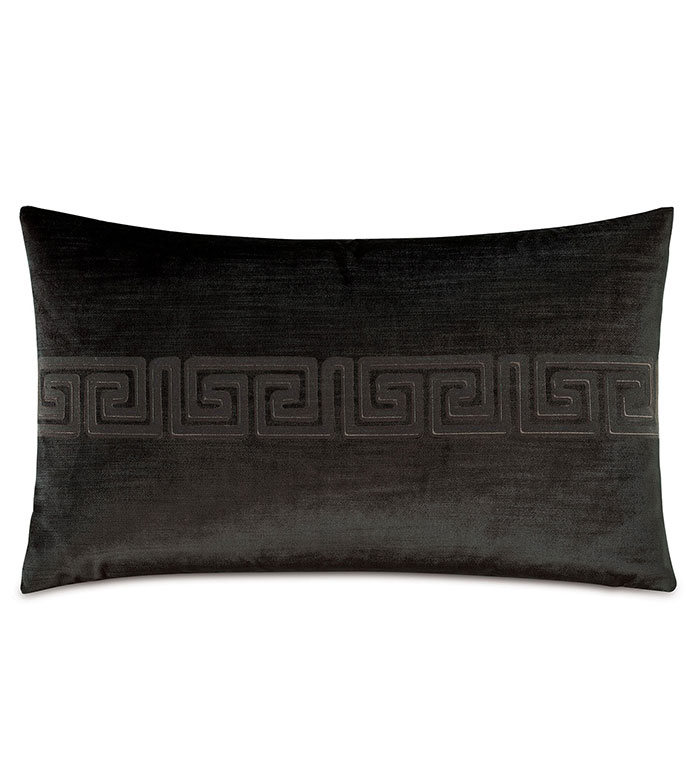Antiquity Greek Key Decorative Pillow in Ebony - ,DECORATIVE PILLOW,VELVET PILLOW,VELVET,LUXURY VELVET,ANCIENT GREECE,ANTIQUITY,GREEK KEY,LUXURY DECOR,BLACK PILLOW,BLACK VELVET,PILLOW,LASER ENGRAVED,