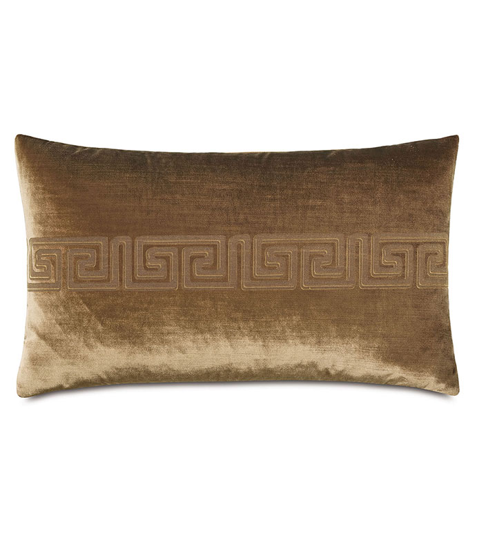 Antiquity Greek Key Decorative Pillow in Coin - ,DECORATIVE PILLOW,VELVET PILLOW,VELVET,LUXURY VELVET,ANCIENT GREECE,ANTIQUITY,GREEK KEY,LUXURY DECOR,COPPER VELVET,PILLOW,LASER ENGRAVED,
