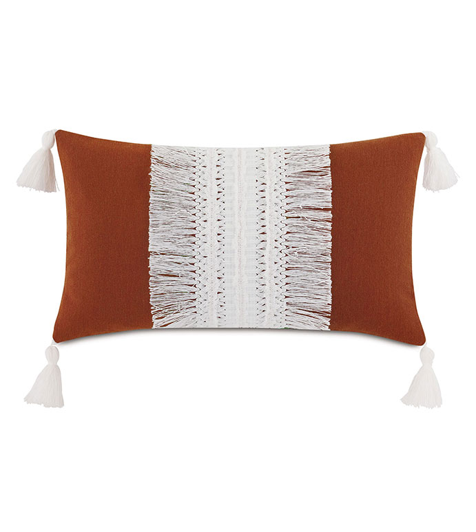 Palermo Tassel Decorative Pillow in Henna - ,RECTANGLE PILLOW,FRINGE PILLOW,TASSELS,TASSEL PILLOW,BURGUNDY PILLOW,OUTDOOR PILLOW,OUTDOOR THROW PILLOW,OUTDOOR DECOR,FRINGE, LARGE PILLOW,