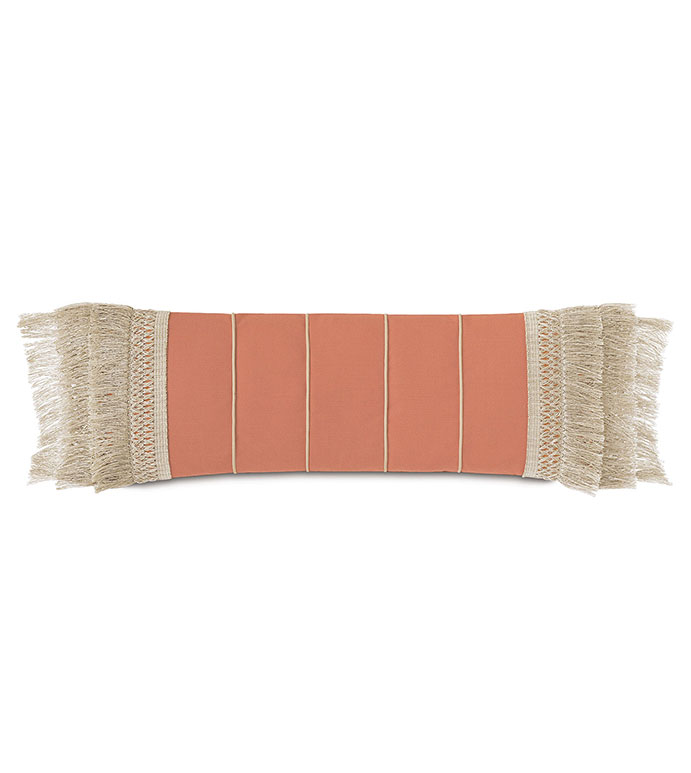 Siesta Fringe Decorative Pillow  in Papaya - ,brush fringe,fringe trim,long pillow,oversized pillow,outdoor pillow,outdoor decor,rectangle pillow,coral pillow,long outdoor pillow,decorative pillow,tropical decor,