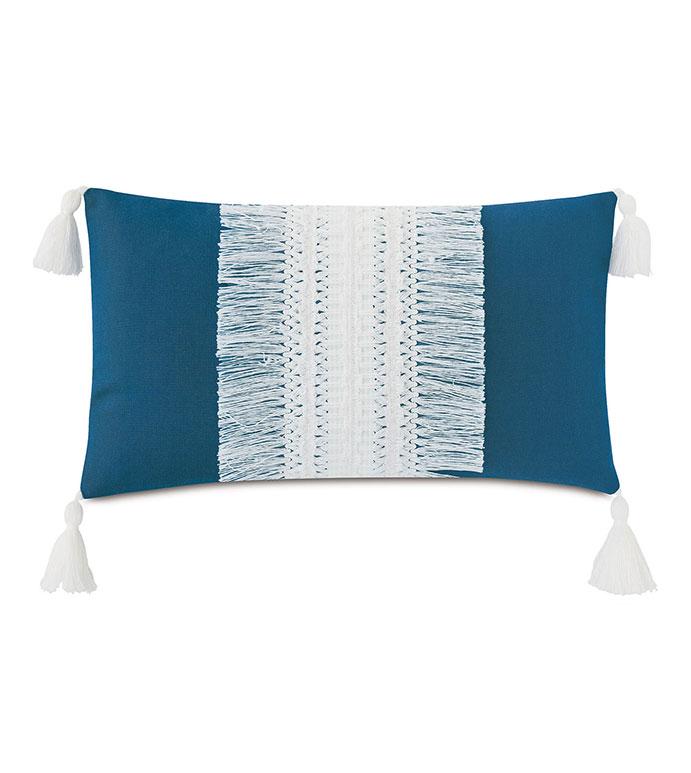 Palermo Tassel Decorative Pillow in Lagoon - ,RECTANGLE PILLOW,FRINGE PILLOW,TASSELS,TASSEL PILLOW,BLUE PILLOW,OUTDOOR PILLOW,OUTDOOR THROW PILLOW,OUTDOOR DECOR,FRINGE, LARGE PILLOW,