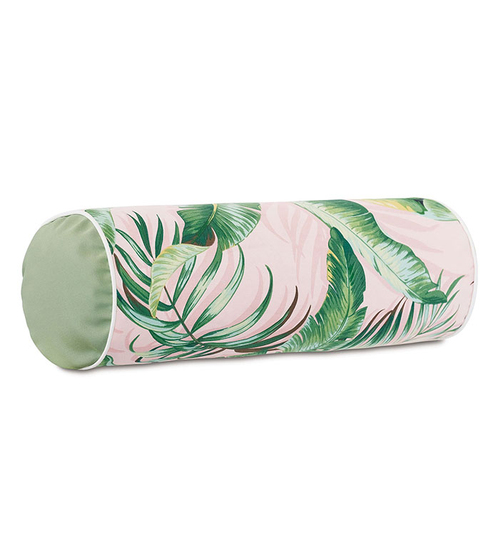Abaca Banana Leaf Bolster in Flamingo - ,LONG PILLOW,OBLONG PILLOW,OUTDOOR PILLOW,OUTDOOR DECOR,TROPICAL PILLOW,TROPICAL DECOR,CORAL PILLOW,TROPICAL PRINT,LUXURY OUTDOOR,PATIO PILLOW,