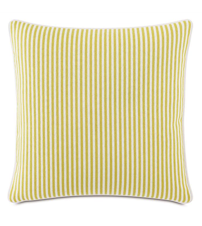 Villa Reversible Decorative Pillow in Lemon - ,20X20 PILLOW,REVERSIBLE PILLOW,SQUARE PILLOW,STRIPED PILLOW,CITRON PILLOW,TEAL PILLOW,COASTAL DECOR,NAUTICAL DECOR,OUTDOOR PILLOW,OUTDOOR DECOR,WELT EDGE,MEDIUM PILLOW,