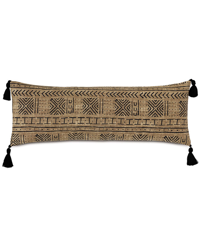 Seydou Tassel Decorative Pillow in Natural - ,RECTANGLE PILLOW,OBLONG PILLOW,FRINGE DETAIL,FRINGE PILLOW,ETHNIC PRINT,LONG PILLOW,SQUARE PILLOW,GLOBAL DECOR,OUTDOOR PILLOW,OUTDOOR DECOR,ABSTRACT PRINT,