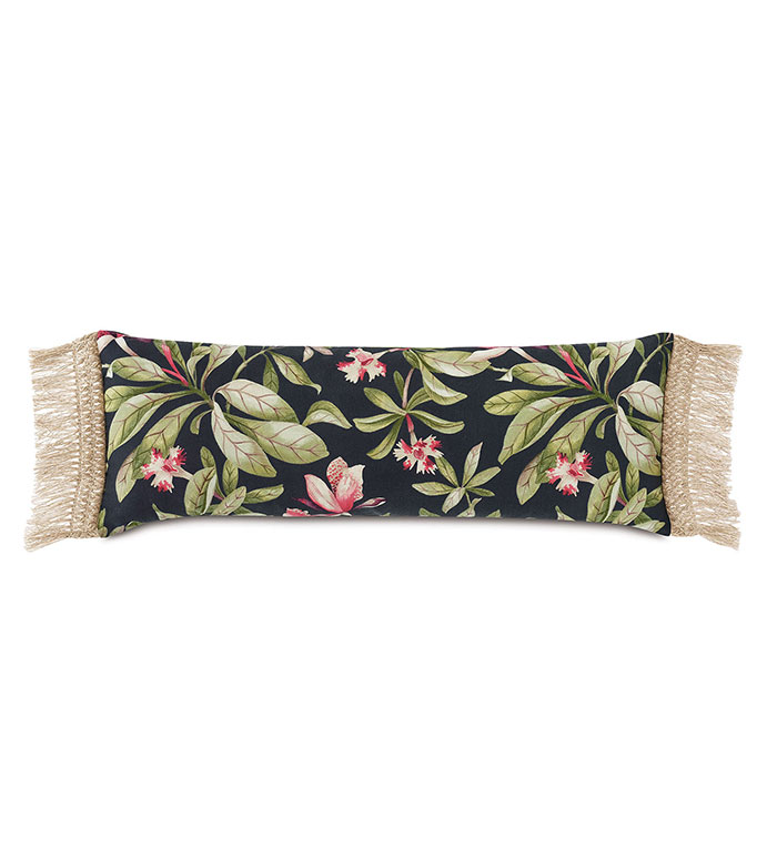Kamehameha Fringe Edge Decorative Pillow - ,OVERSIZED PILLOW,RECTANGLE PILLOW,BOLSTER PILLOW,TROPICAL PRINT,BLACK BOLSTER,FLORAL PILLOW,OUTDOOR PILLOW,FRINGE TRIM,FRINGE PILLOW,TROPICAL DECOR,LONG PILLOW,