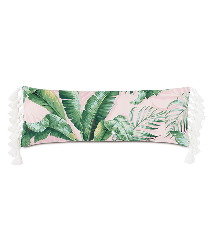 Abaca Tassel Decorative Pillow in Flamingo - ,LONG PILLOW,OBLONG PILLOW,OVERSIZED PILLOW,OUTDOOR PILLOW,BANANA LEAF PILLOW,BANANA LEAF PRINT,TASSELS,TASSEL PILLOW,OUTDOOR DECOR,TROPICAL PILLOW,TROPICAL DECOR,CORAL PILLOW,