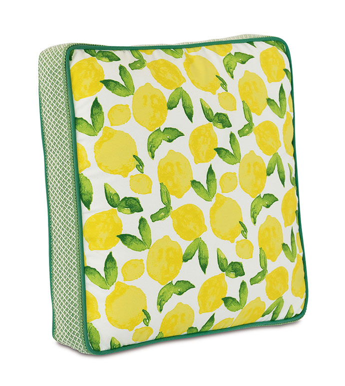 Knowles Boxed Decorative Pillow - ,BOXED PILLOW,BOXED OUTDOOR PILLOW,SQUARE PILLOW,OUTDOOR DECOR,CITRUS PRINT,LEMON PRINT,PRINTED PILLOW,YELLOW PILLOW,OUTDOOR PILLOW,LEMON PRINT,LEMON PILLOW,LUXURY OUTDOOR,