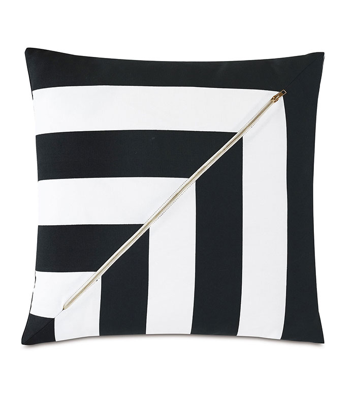 Kubo Zipper Decorative Pillow - ,20X20 PILLOW,SQUARE PILLOW,STRIPED PILLOW,ZIPPER DETAIL,ZIPPER PILLOW,MEDIUM PILLOW,OUTDOOR PILLOW,OUTDOOR THROW PILLOW,OUTDOOR DECOR,