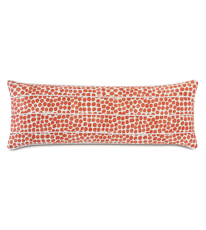 Toodles Channeled Decorative Pillow - ,long pillow,oblong pillow,oversized pillow,decorative pillow,coral pillow,abstract print pillow,outdoor pillow,outdoor decor,channeled design,contrast welt,outdoor throw pillow,