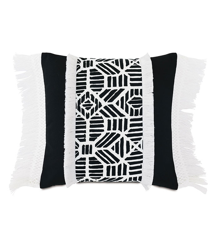 Madaba Fringe Decorative Pillow - ,20X20 PILLOW,SQUARE PILLOW,BLACK AND WHITE PILLOW,BRUSH FRINGE,FRINGE TRIM,BLACK AND WHITE PILLOW,OUTDOOR PILLOW,IKAT PATTERN,OUTDOOR DECOR,APPLIQUE,